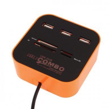 Combo Multi Card Reader + 3 USB HUB 2.0 Splitter - 20% Off